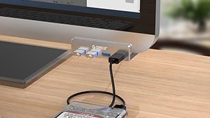 クリップ式だから邪魔にならない! 「ORICO USB3.0 ハブ 4ポート クリップ式」