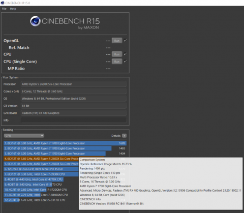 CINEBENCHの結果表示(詳細情報のポップアップが邪魔w)