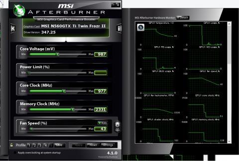 MSI Afterburnerによる11%OC設定画面