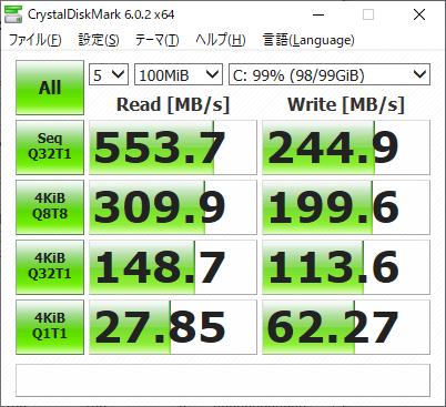 Crystal Disk Markによる100MBのベンチスコア