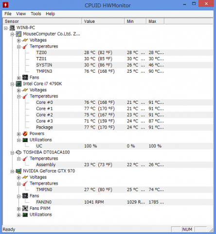 (CPU等の温度)