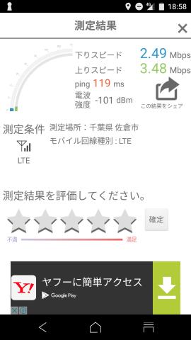 ▲IIJmio 高速モバイル/DのSIMで計測