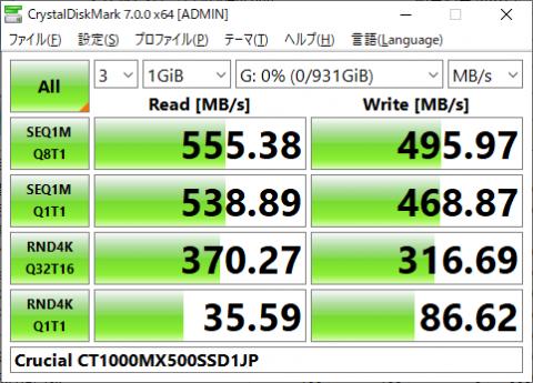 ▲CT1000MX500SSD1JP (SATA SSD)