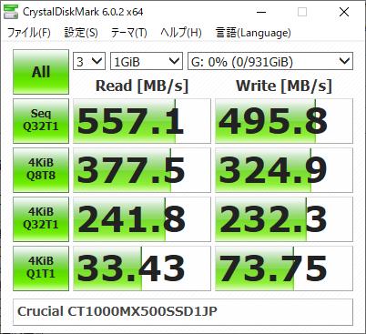 ▲Crucial CT1000MX500SSD1JP (SATA SSD)