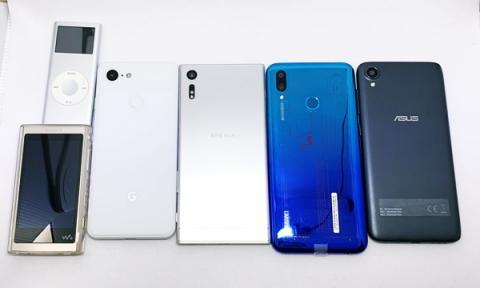 左上からiPod 2gen, Walkman NW-A55, Google Pixel 3, Sony Xperia XZ, Huawei nova lite 3, ASUS Zenfone Live L1。