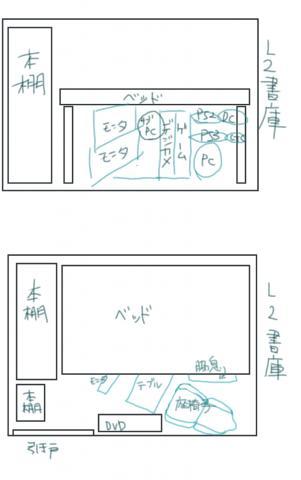 図説、通称L2の巣(上段横から、下段は天井から見たら、という想像図です)