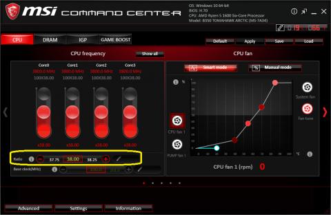 msi command center 1600@3.8GHz 設定