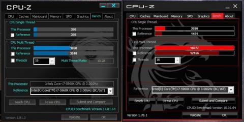 CPU-Zのベンチを比較