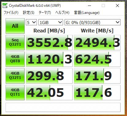 Intel マザーでのCrystalDiskMark