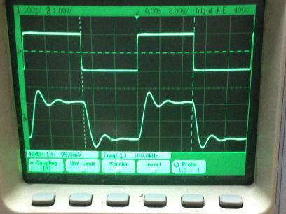 過渡応答(A=11 Vin=200mVp-p f=100kHz Rfb=10kΩ 位相補償なし 10:1プローブのみ接続 ガラエポユニバーサル基板)