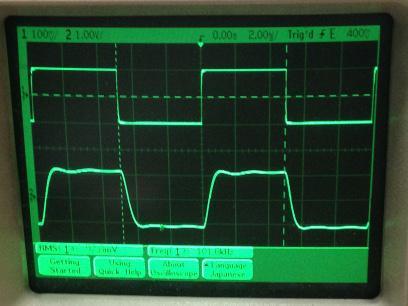 過渡応答(A=11 Vin=200mVp-p f=100kHz Rfb=10kΩ Cfb=33pF 10:1プローブのみ接続 ガラエポユニバーサル基板)