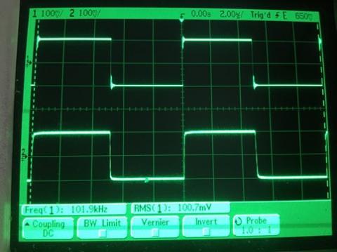 過渡応答(A=1 Vin=200mVp-p f=100kHz Rfb=0 位相補償なし Rl=15Ω ガラエポユニバーサル基板)