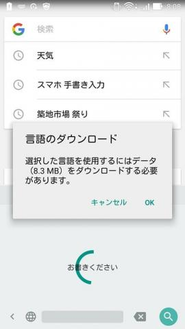 初めて使用する場合に言語のダウンロードが必要だ
