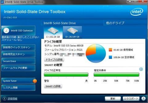 ドライブ情報の表示