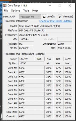 CPU情報、コア温度