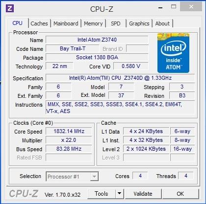 Dell Venue 8 Pro のプロセッサ