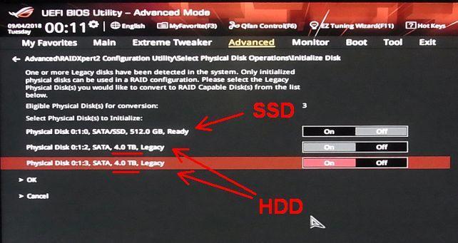 次にUEFIの設定でArray対象ドライブを指定(既設SSDと間違わないように...)