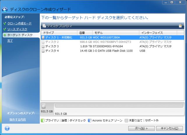 ターゲットディスクは未初期化の新規1TB(931.5GB)のSSD(本品)