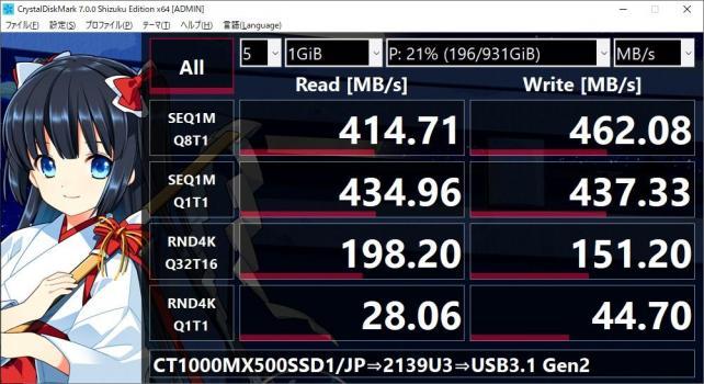 WL-ST239C(本品)のUSB3.2 Gen1 x1接続よりは速いが...500MB/sにはまったく届いていない