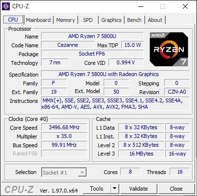 CPU-Zによると世代はCezanne