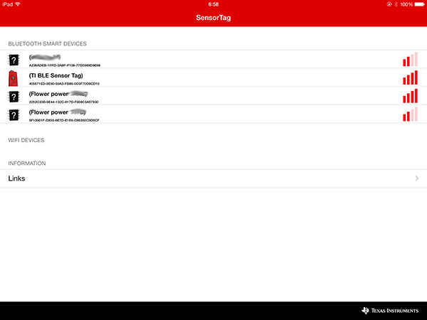 SensorTag選択画面