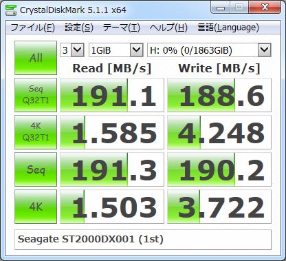 ▲Crystal Disk Mark 5.1.1 (1回目)