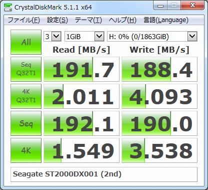 ▲Crystal Disk Mark 5.1.1 (2回目)