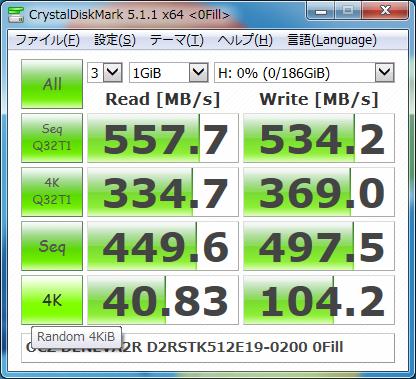 ▲Crystal Disk Mark 5.1.1 (0Fill)