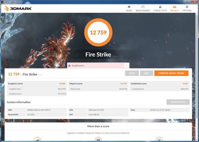 ▲3DMark Fire Strike (GeForce GTX 1070 Ti)