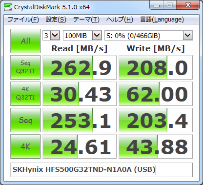 ▲Crystal Disk Mark 5.1.0(Windows 7+USB3.0)