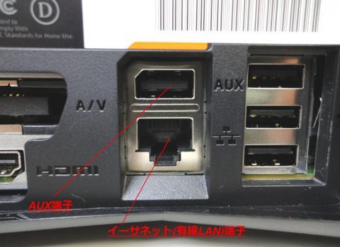 AUX端子と有線LAN端子