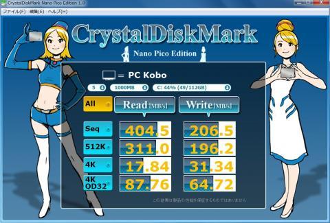 CrystalDiskMarkNanoPicoEdition1.0で、システムドライブとなっているSSDの結果!さすが INTEL 510 (6Gbps)!!