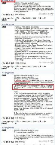 ASUSのHPからBIOSはいくつか出ていた。Ivy対応は3202以降とのこと