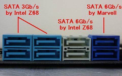 ネイビーブルーの2ポートが追加のSATA 6Gb/sポート