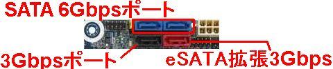 青いのがSATA 6Gbpsポート(2口)