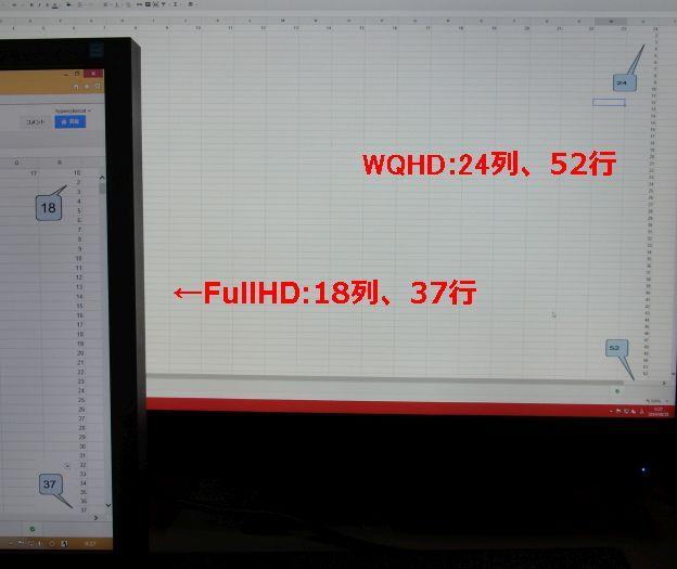 同じフォントサイズで作成した表計算シート。行数列数が全然違う。