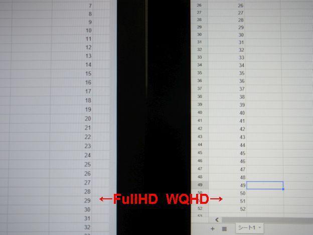 一方文字の差はこのくらい(対23型FullHD。対21.5型だとさらに差は少ない)