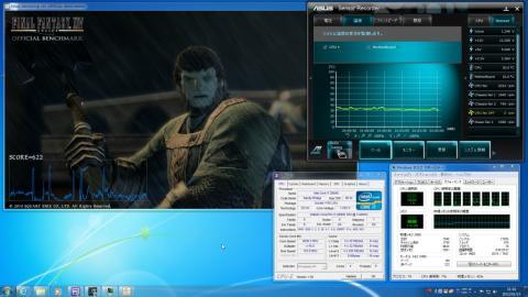 FFベンチ実行中のCPU温度とマザーボードの温度をSensor Recoderで記録しました