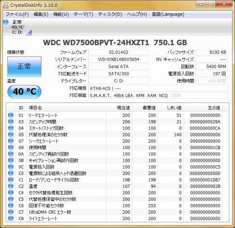 G560のCrystalDiskInfo(HDD)