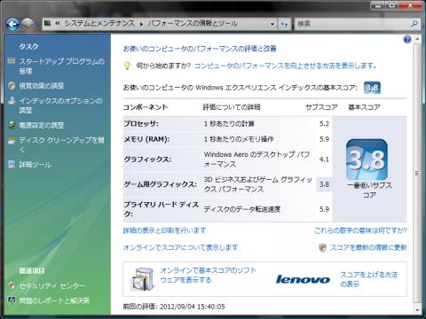 換装後(SSD)のWindowsパフォーマンス