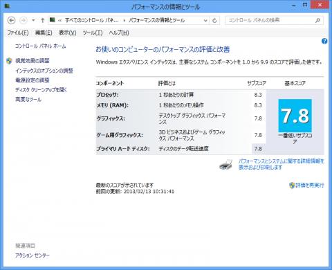 Windows 8環境下のエクスペリエンスインデックスWEIスコア