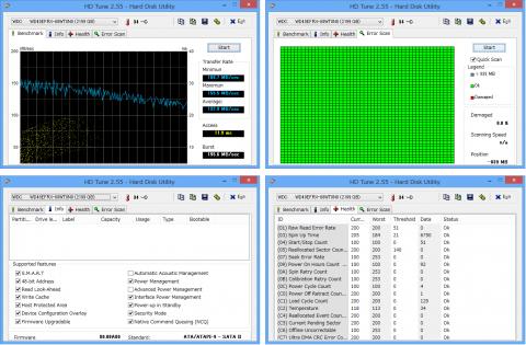 HDTune2.55によるベンチマークとエラースキャン