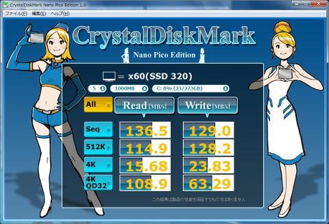 SSD CrystalDiskMark 1000MB
