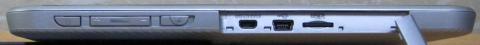 端子の保護カバーを外すと、micro HDMI, USB(mini-B), MicroSDHCの各スロットが付いています。