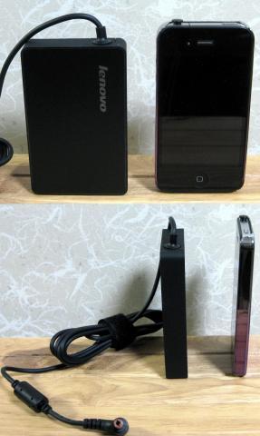 ACアダプタとiPhone4で大きさを比べてみました。中々小型ですね。