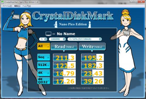 CristalDiskMarkの結果