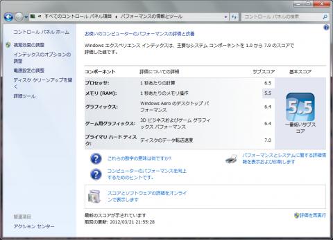 Windowsエクスペリエンス インデックスの結果