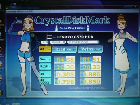 CrystalDiskMark NP Editionで初期搭載HDDを計測