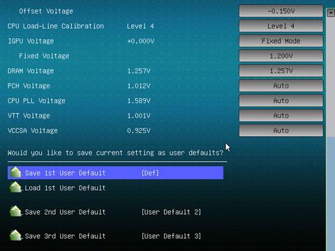 スクショではIGPU1.20V固定だがデフォルトは1.25V。