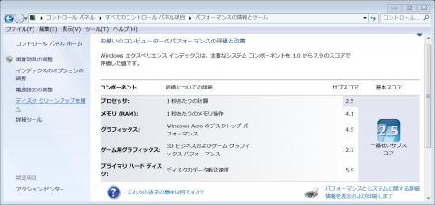 Windows エクスペリエンスインデックス